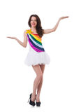 Pretty girl in colorful dress isolated on white Stock Photos