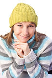 Pretty girl in a colorful sweater Stock Photos