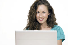 Pretty girl with computer. Horizontal image with copy space Stock Image