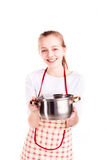 Pretty girl cook soup  Royalty Free Stock Images