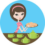 Pretty girl with cookies. Vector, color full, no gradient Stock Photo