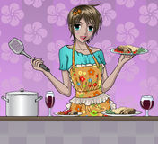 Pretty Girl Cooking Royalty Free Stock Photography