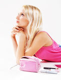 Pretty girl with cosmetics Royalty Free Stock Photo