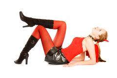 Pretty girl in costume of Halloween young devil Stock Photos