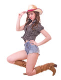 Pretty girl with cowboy hat Stock Image