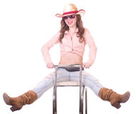Pretty girl with cowboy hat Royalty Free Stock Image