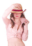 Pretty girl with cowboy hat Royalty Free Stock Photos