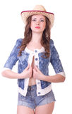 Pretty girl with cowboy hat Royalty Free Stock Images