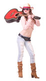 Pretty girl with cowboy hat with guitar Stock Photo