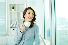 Pretty girl with cup Stock Images