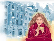 Pretty girl with cup of hot tea or coffee, wrapped in warm red blanket stock illustration