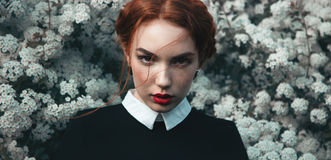 Pretty girl with curly redhair Royalty Free Stock Image