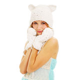 Pretty girl in cute cap and mittens Royalty Free Stock Photography