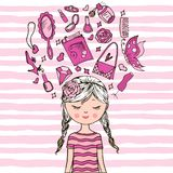 Pretty Girl. Cute girl  T-shirt print Book illustrations for children Romantic hand drawing poster cartoon character For apparel or other uses in  pretty graphic Royalty Free Stock Image