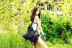 Pretty girl with bag royalty free stock photo