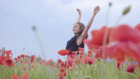 Pretty girl dancing in a poppy field smiling happily. Connection with nature. Leisure in nature. Blossoming poppies stock video footage