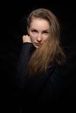 Pretty girl in a dark blue sweater Stock Photo
