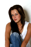 Pretty girl with dark long hair royalty free stock photography