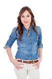 Pretty girl with denim shirt Royalty Free Stock Image
