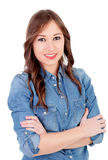 Pretty girl with denim shirt Stock Photos
