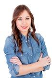 Pretty girl with denim shirt Stock Photos