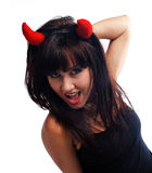 Pretty girl in devil costume Royalty Free Stock Photos