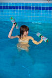 Pretty girl doing aqua aerobic exercise Royalty Free Stock Photos