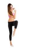 Pretty girl doing fitness exercise stock photos