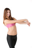 Pretty girl doing fitness exercise Royalty Free Stock Photos