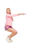 The pretty girl doing physical exercises isolated on white Stock Photography