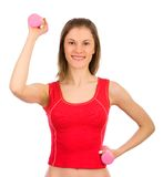 Pretty girl doing sport. Isolated on white. Stock Image
