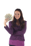 Pretty girl with dollars (isolated) Royalty Free Stock Image