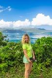 Pretty girl in Dominican Republic. Young pretty girl in Dominican Republic on background of amazing tropical nature Stock Photo