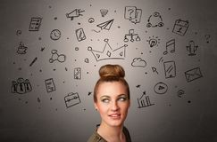 Girl with task of the days concept. Pretty girl with drawn tasks above her headn royalty free stock image