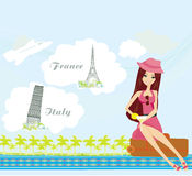 Pretty girl dreaming about vacation in France and in Italy Stock Photo