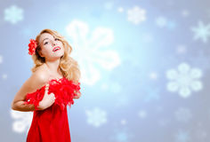 Pretty girl in dress on blurred digital snowflakes Stock Images