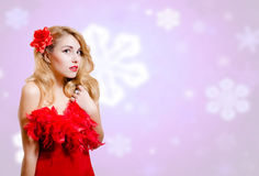 Pretty girl in dress on blurred digital snowflakes Royalty Free Stock Images