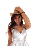 Pretty girl in dress and cowboy hat. Stock Images