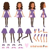 Pretty girl in dress with small handbag for animation. Constructor with various views front, side, back. Flat character creation set with body parts and stock illustration