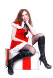 Pretty girl dressed as Santa Royalty Free Stock Image