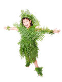 Pretty  girl dressed in green plant leafs Stock Photography