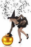 Pretty girl dressed up as a halloween witch Royalty Free Stock Images