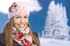 Pretty girl dressed up warm enjoying wintertime Royalty Free Stock Photos
