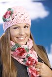 Pretty girl dressed up warm enjoying wintertime Stock Photos