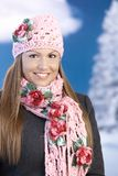 Pretty girl dressed up warm smiling wintertime Stock Photography