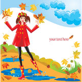 Pretty girl dressing coat and rubber boots Royalty Free Stock Images