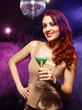 Pretty girl with a drink Royalty Free Stock Images
