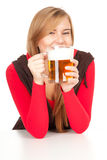 Pretty girl drinking beer Royalty Free Stock Photography