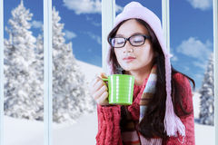 Pretty girl drinking coffee in winter day Royalty Free Stock Images
