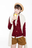 Pretty girl drinking juice Royalty Free Stock Image